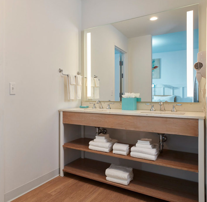 Hotel Bath Vanities with LED Lighted Mirror