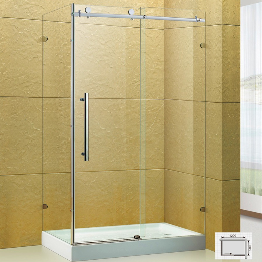 Frameless Glass Shower Enclosure with Acrylic Shower Pan