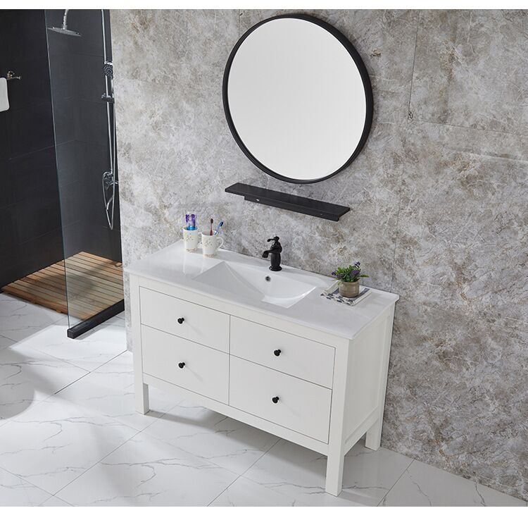 Floor Mount White Painted Bathroom Vanity with Ceramic Basin