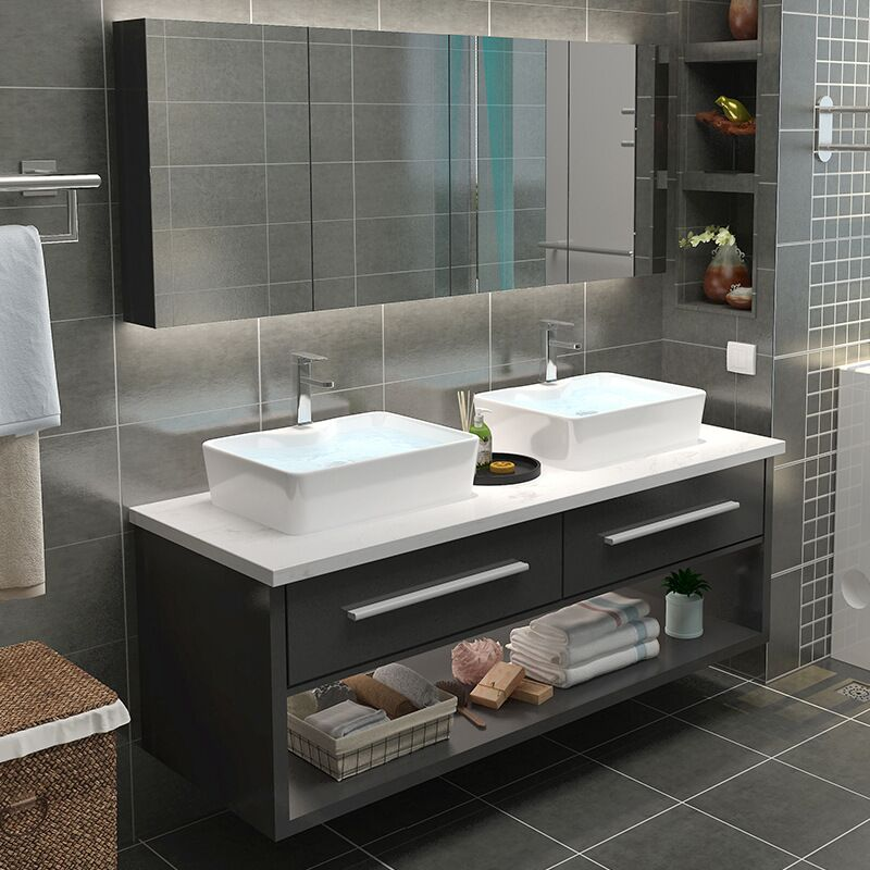 Floating Bathroom Vanities topped by Marble Designed Quartz top