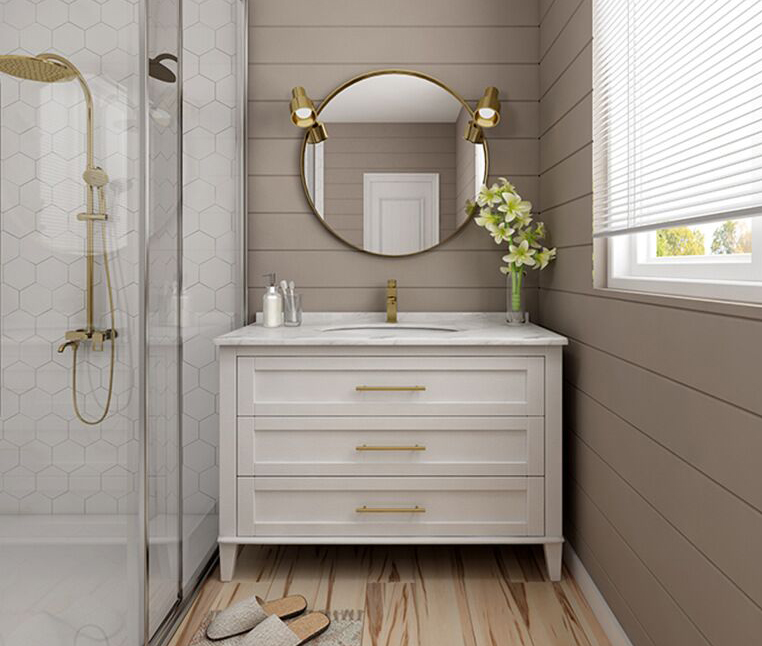 Bathroom White Vanities with Three Stacked Drawer and Marble Bianco Cararra top