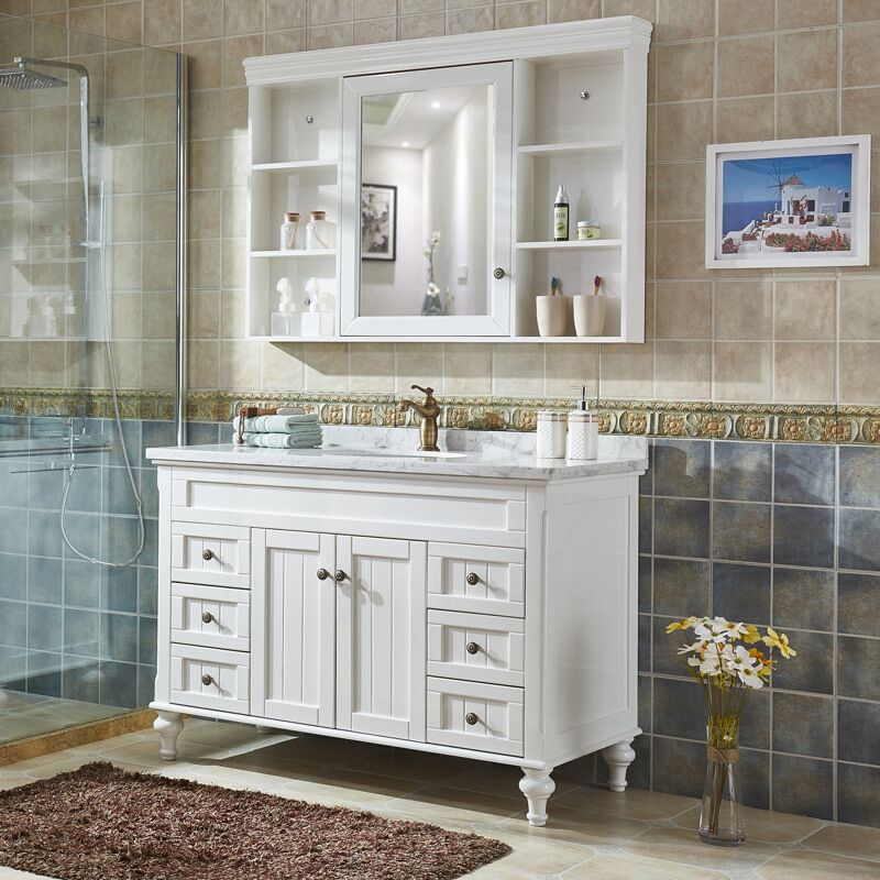 Classic Bathroom Shaker Vanity Cabinet with White Marble Counter top