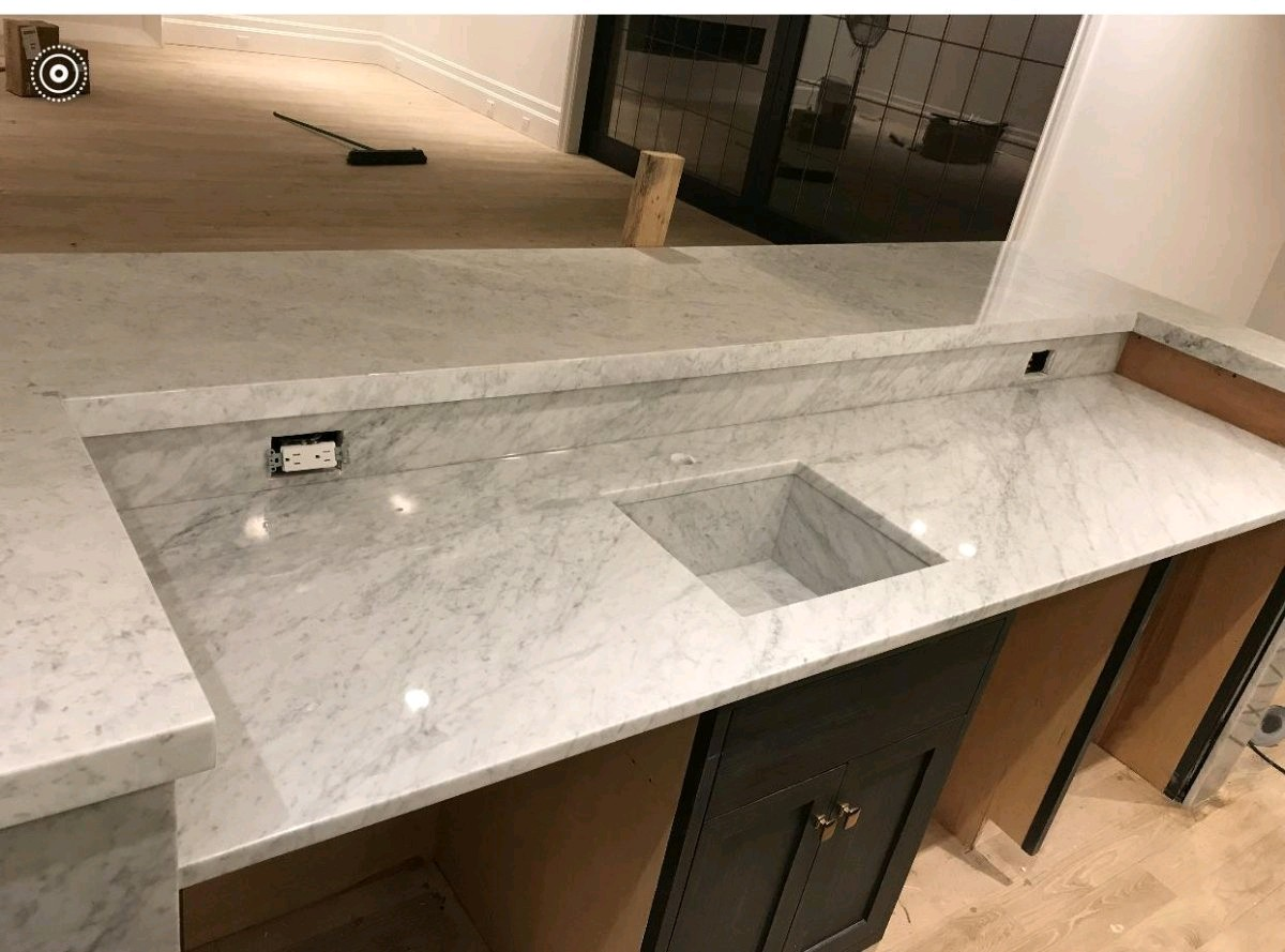 Marble Bianco Carrara Bathroom Vanity top and Shelf