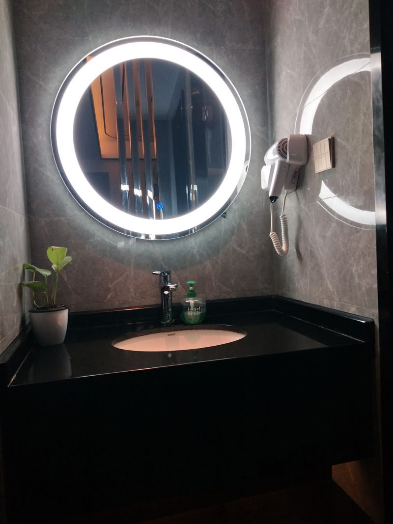 Granite Black Galaxy Bathroom Vanity top and LED Backlit Mirror and Wood Shelf