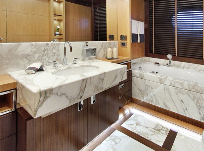 Bathroom Vanities by Natural Stone Marble and HPL Wood Cabinet