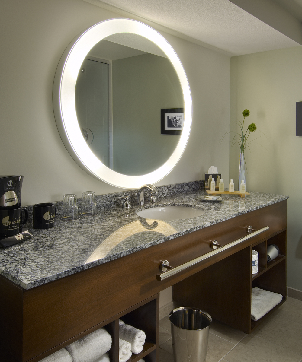 Bathroom vanities with metal towel bar and round LED lighted Electric mirror