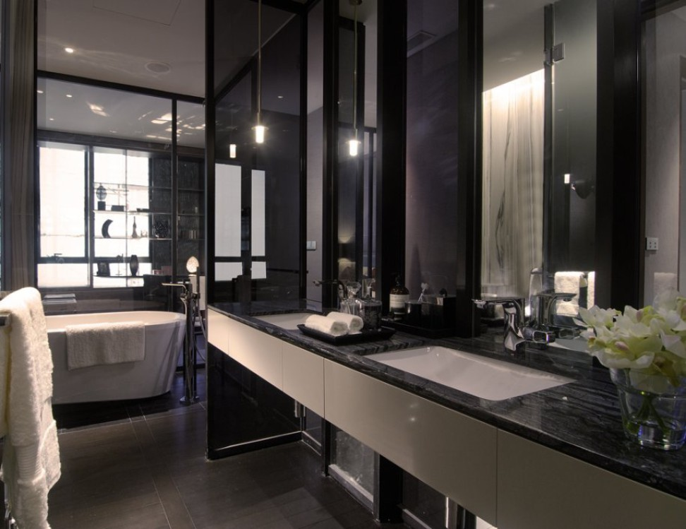 Apartment luxury bathroom vanities by marble Kenya Black