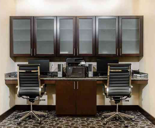 Business Center Office File Wood Cabinet and Granite Desk op