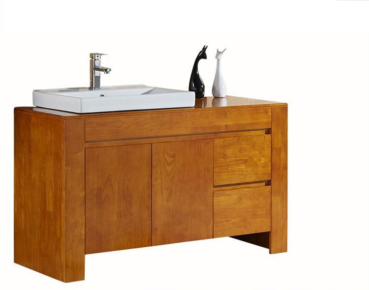 Caramel Stained Wooden Bathroom Vanity Cabinet