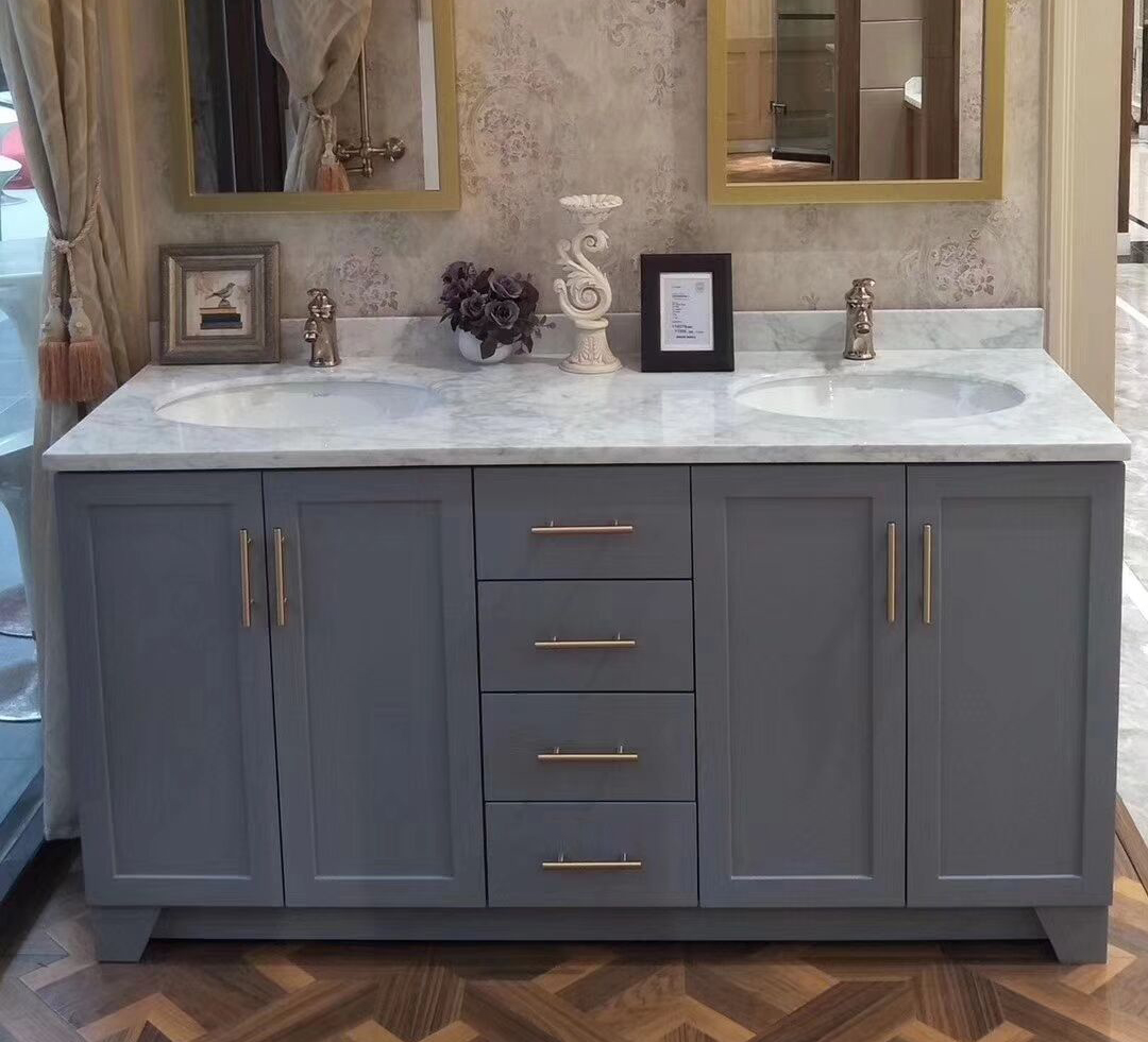 Double Sink Bathroom Vanity top and Backsplash by Marble Bianco Carrara