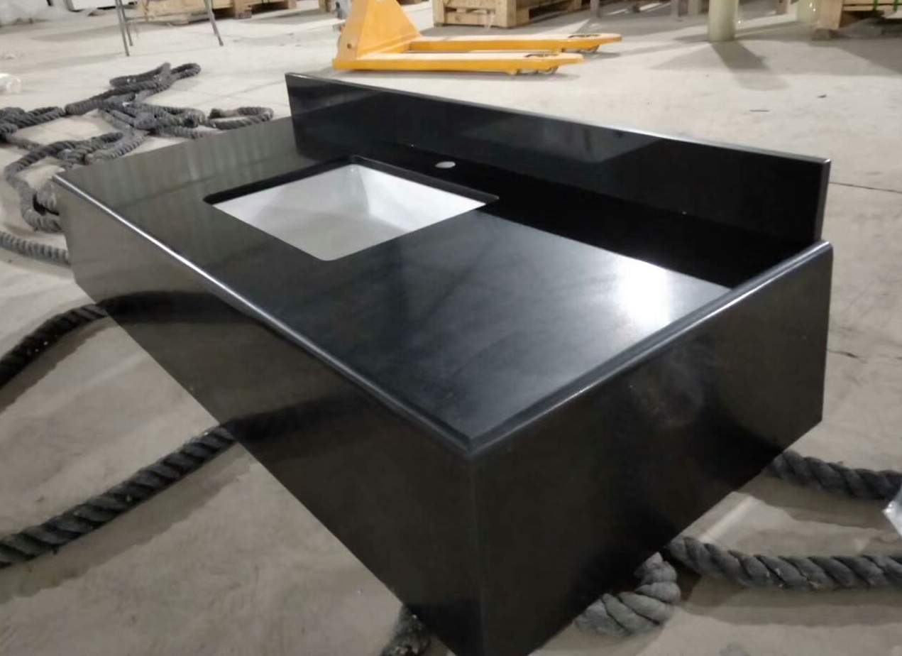 Granite Absolute Black Bathroom Vanity top and Apron Surrounding