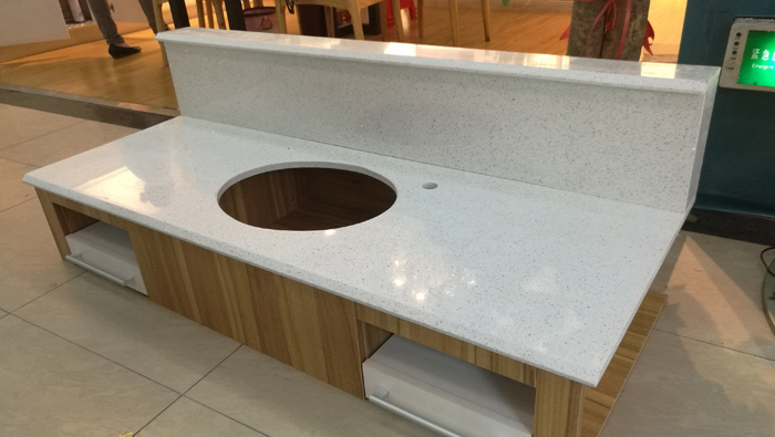 White Sparkle Quartz Bathroom Vanity top for Hampton Inn and Suites FYI