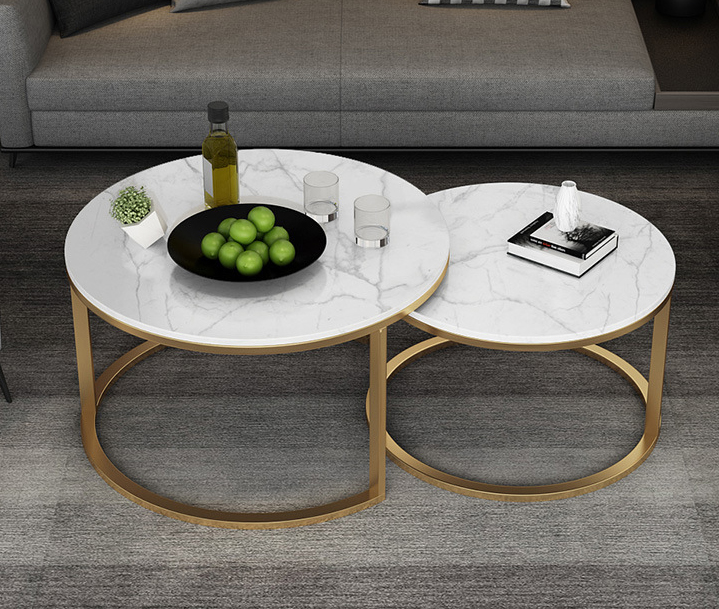 Marble Calaccata top with metal furniture