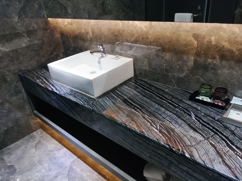 Marble Kenya Black Lavatory Countertop and Front Apron