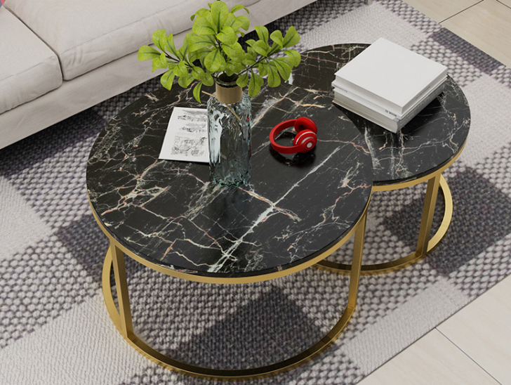 Marble St Louis table top with metal coffee table base