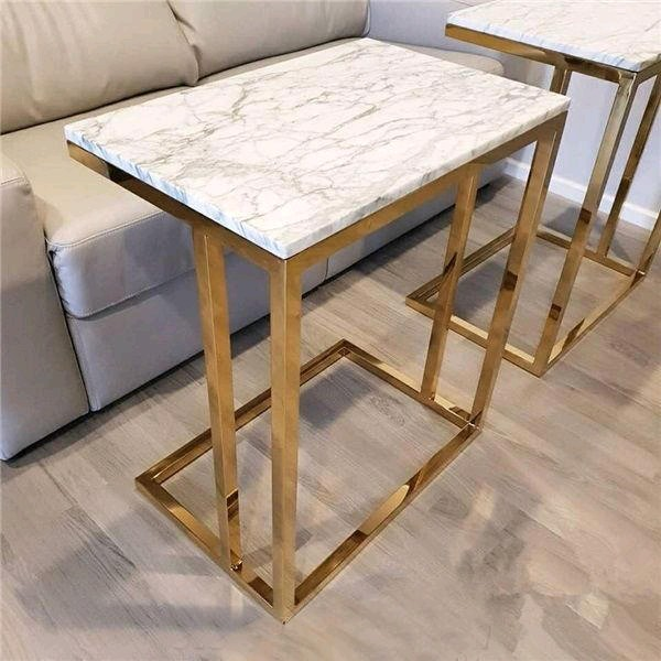 Marble Statuario top for Metal C Table Furniture