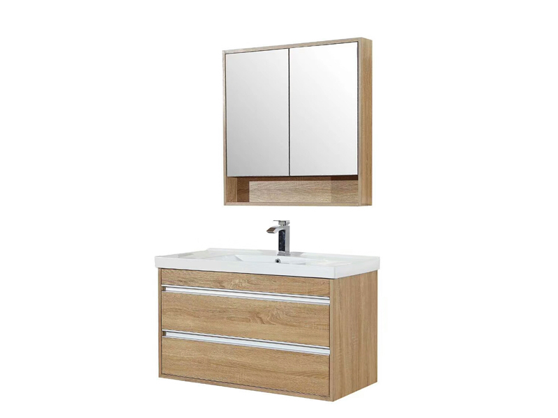 Melamine Finished Bathroom Floating Vanity and Mirror Cabinet