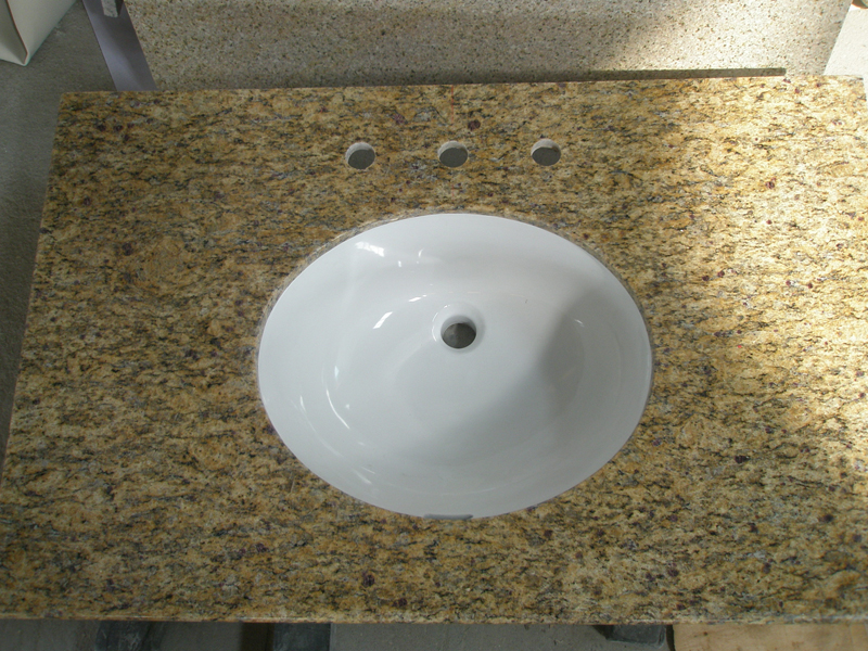 Granite Santa Cecilia Bathroom Vanity top with White Porcelain Sink