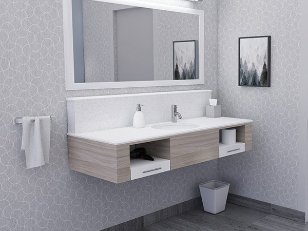 Wall hung bath vanities with artificial stone shelf