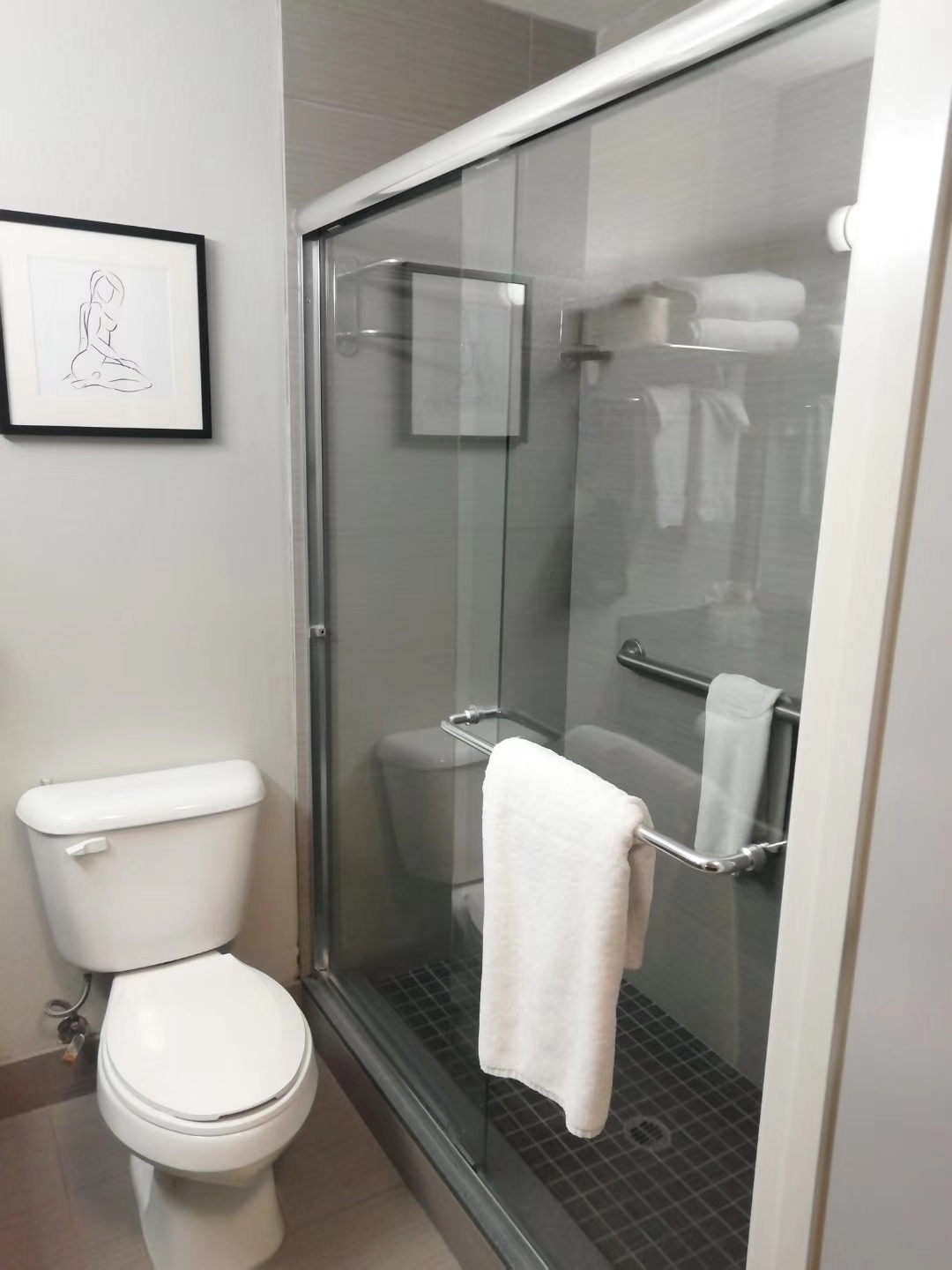 Glass Shower and Tub Door with Aluminum Frame for Hotel and Motel