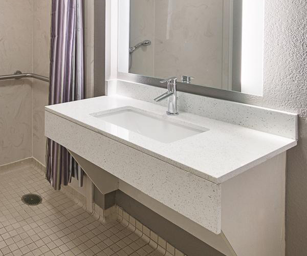 White Quartz Vanity top with Front Apron