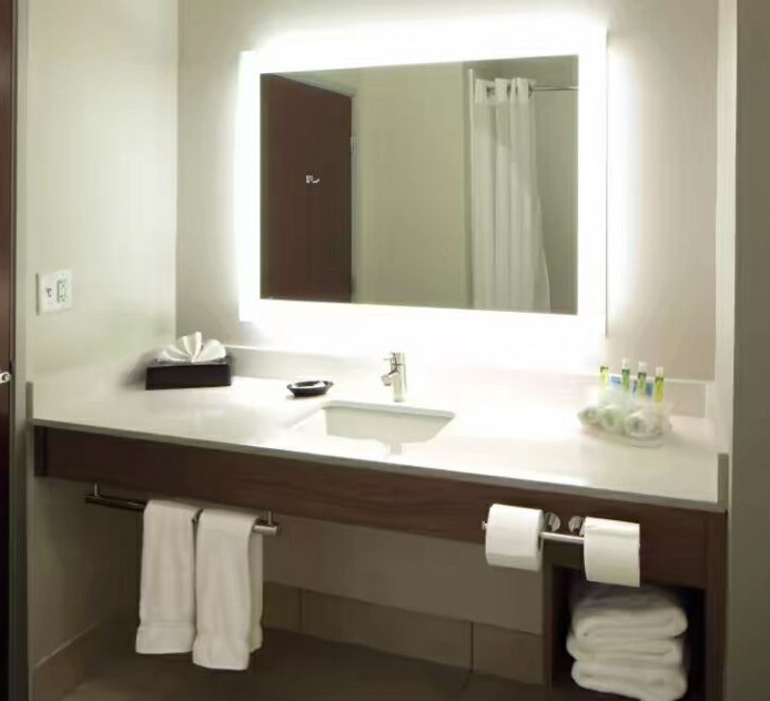 Holiday Inn Express Bath Vanities with Quartz top and Splashes